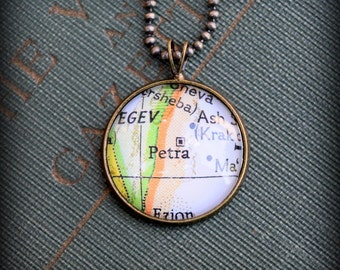 Petra Map Necklace - Custom Handmade Pendant - Charm Jewelry - Jordan - Rose City - Wanderlust