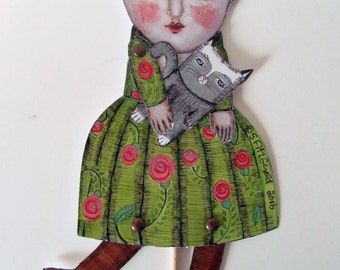 adult  paper doll puppet diy mixed media folk art home decor fun silly quirky woman with chameleon