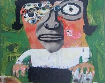 Outsider Cat Art Painting Collage - Original Abstract Eyes Girl, Cat - Raw Naive Green Folk Artwork Wall Decor Brut w Vintage Car