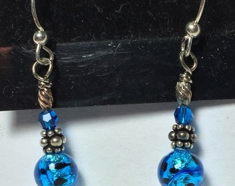 Blue silver foil earrings with black dots