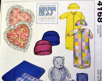 McCall's Crafts 4168 Stuffed Bear Hats Pillows Bunting and Blanket Sewing Pattern Uncut Complete