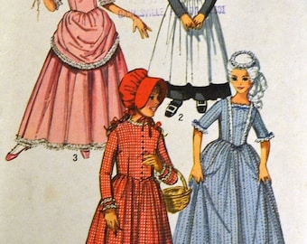 Costume Sewing Pattern Simplicity 9136 Girl's Colonial and Puritan Dresses Size 8