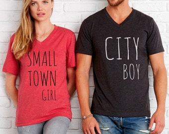 Just a Small Town Girl City Boy His and Hers Don't Stop Believin' shirts Unisex Cute shirt screenprint