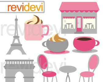 Pink grey Paris cafe clipart - Oh la la paris digital clipart - Eiffel tower, coffee shop, arc de triomph Paris France clipart