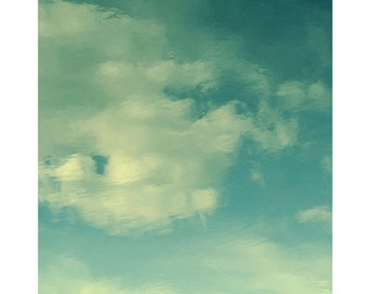Turquoise Sky Art, Landscape Photography,  Abstract Photography, Zen Art, Meditation Print, Country Home Decor, Cloud Photography
