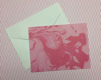 10 Cards and envelopes - Pink Marble - blank notes 4.25 x 5.5 ready for embellishing