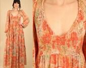 ViNtAgE 70's Bohemian Maxi Dress ROSE Print Boho Scarf Dress HUGE Sweep Festival Deep V Smocked Empire Hippie Poet Sleeve Tiered Skirt M / L