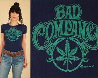 ViNtAgE 70's Bad Company T-Shirt Glitter Marijuana Stoner Shirt 1970s Rock Tour Concert Women's Tee Small Medium S M Pot Leaf Herb Maryjane