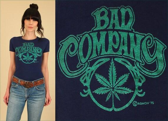 Vintage 70 39 s bad company t shirt glitter marijuana stoner for Vintage t shirt company