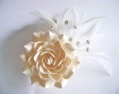 Champagne Bridal Hair Flower Gardenia Clip Wedding Hair Accessories Rhinestones Feather