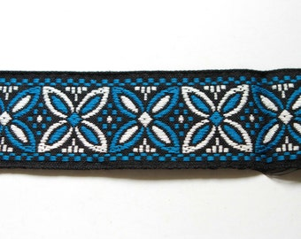 Supplies - Vintage Thick Woven Trim in Blue, Black, and White