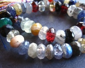 Mixed semiprecious gemstone strand - Orphan bead strand - 8 1/2 inches 6-7mm faceted rondelles