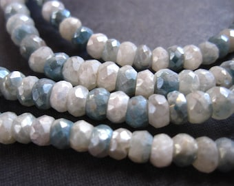 Coated Sapphire Beads - light blue and white - semiprecious gemstones
