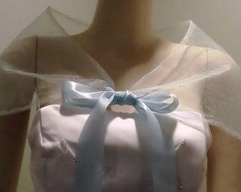 Baby Blue Bridal Cape,Organza Wedding Shawl,Bridal Cover up with ribbon ties