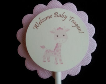 Personalized Light Pink Giraffe Cupcake Toppers
