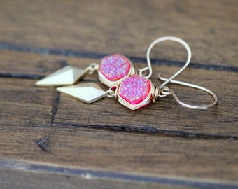Arrowhead Druzy Drop Earrings, Pink Hexagon Quartz  & Triangle Charm Earrings, Bezel Wrapped Boho Style - Stiletto