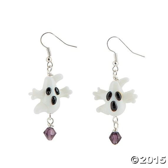 Ghost Lampwork Glass Earrings