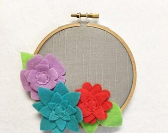 Fabric Wall Art, Embroidery Hoop Art, Jewel Petals, Nursery Decoration, Floral Wall Decor, Hoop Wall Hanging, Felt Flower Hoop