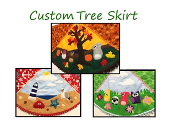 "Custom Tree Skirt, Christmas Tree Skirt, 35"" Diameter, Summer, Spring, Winter, Autumn, Felt Animals, Christmas Decoration"