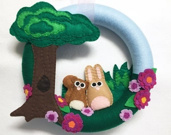 Wreath, Summer Wreath, Front Door Wreath, Forest Friends - Made to order, Squirrel and Bunny, Flowers and Trees, Felt and Yarn Wreath