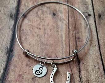 Horseshoe initial bangle- horseshoe jewelry, lucky horseshoe bracelet, rodeo jewelry, horseshoe bracelet, farrier jewelry, rodeo bangle