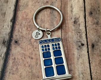 Police box initial key ring - police box accessories, gift for police, British call box key ring, London key ring, blue police box key ring