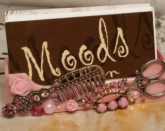 HairStylist Business Card Holder/Shabby Chic Pink  Beauty
