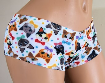 Anime Cats and Polka Dots Lycra Boy Booty Shorts Adult All Sizes- MTCoffinz (Choose Standard Boy Shorts or Lo Rise)