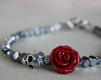 Women's Skull Bracelet, Skull Jewelry, Flower Bracelet, Beaded Bracelets, Sugar Skull, Day of the Dead, Dia De Los Muertos