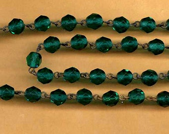 vintage rosary bead glass chain forest green ENGLISH CUT glass 6mm beads glass antique rosary deep jewel green TWENTY inches