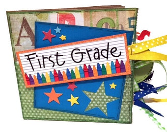 School Scrapbook - Mini First Grade Scrapbook - First Grade Paper Bag Photo Album