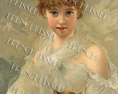 Beautiful Girl with Cat Antique Painting Art Reproduction Postcard Digital Printable
