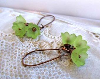 Green earrings - flower earrings - dangle drop earrings - lime green drop earrings - nature jewelry