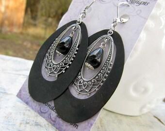 Big earrings black silver hoop bohemian earrings bohemian jewelry