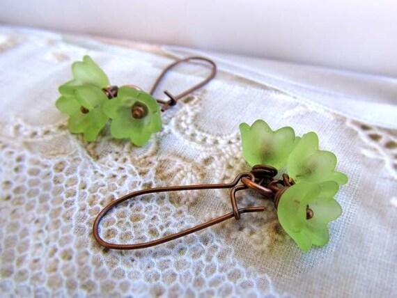 Green earrings - flower earrings - lime green drop earrings - nature jewelry