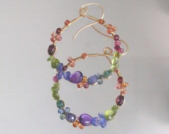 Gemstone Hoops, Colorful Teardrop Earrings, Tanzanite Dangles, Peridot Jewelry, Sapphire, Tourmaline, Amethyst, Original Design, Signature