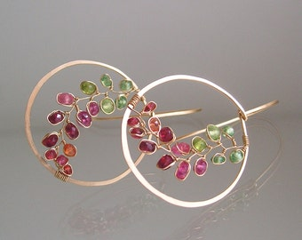 Colorful Gemstone Hoops, Pink Sapphire Gold Hoops, Wire Wrapped Peridot Earrings, Gemstone Vines, Lightweight, Artisan Made, Made to Order