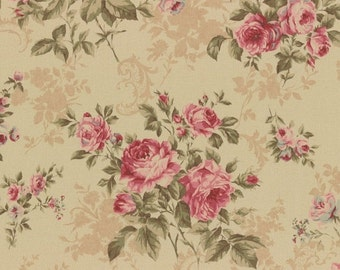 CIJ SALE Antique Rose Tan with Large Scale Pink Floral Flowers Rose Bouquets Designer Quilting Sewing Fabric by Lecien - 1/2 Yard