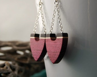 50 % off Fleches - sterling silver purpleheart, maple and ebony wood dangling earrings