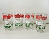 Swanky Swigs Juice Glasses Set of Four Juice Sips Green Red and White Floral Design 1940's Cottage Kitchen