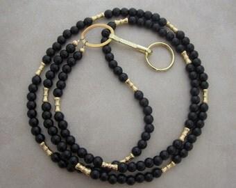 black obsidian gold lanyard badge ID holder