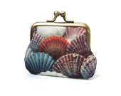 Mini purse, coin pouch, printed silk, gift for her, SHELLS