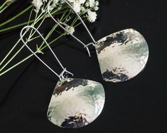 Hammered Sterling Silver Pendulum Earrings