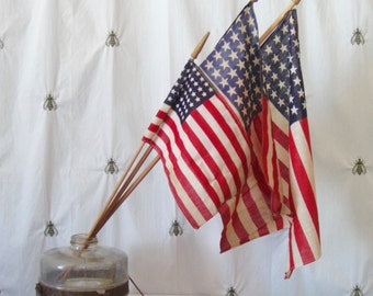 Vintage 48 Star American Flags, Linen Parade Flags, Small Remains, Finials, Wood Dowels, Red White and Blue, Stars and Stripes