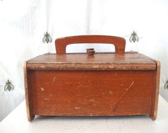 Vintage Primitive Wood Sewing Box, Spool Rod, Flip Lids, Handle