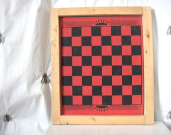 Vintage Handmade Checkers Game Board in Wood Frame, Game Board Wall Gallery Decor, Red and Black