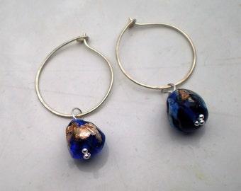 Handmade Sterling Silver 925 Earrings with Murano Aventurina Beads