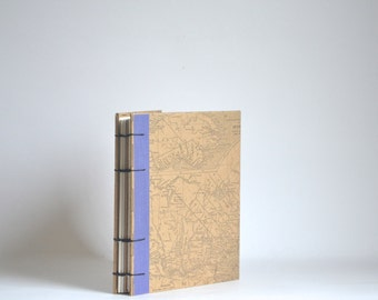 Quebec Canadiana Map Journal, Kraft Brown Coptic Notebook with Blue-Purple Edging