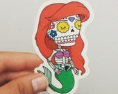 Ariel Calavera Clear Die-cut Vinyl Sticker Day of the Dead
