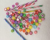 Blythe Size Miniature Fimo Candy - Cut Rock - Old Fashioned Hard Candy - Polymer Clay - Old Fashioned Stick Candy - Large Lot